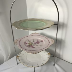 """Chrome 3 x tier Cake Stand with 10"""" Vintage Plates for hire Chorley"""